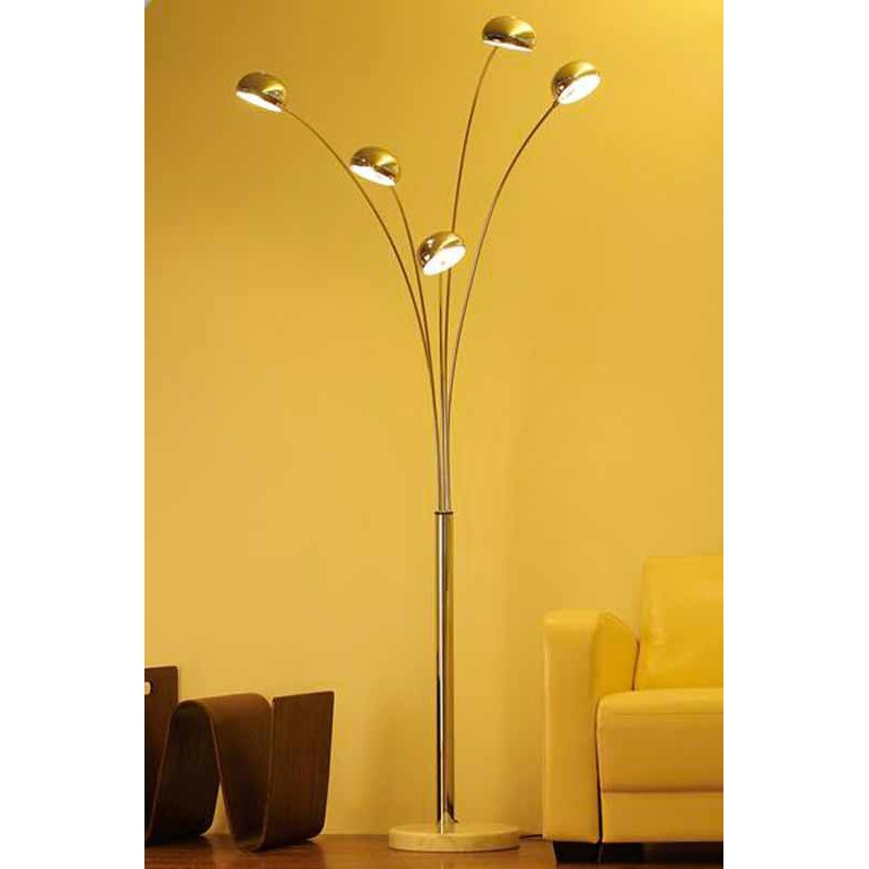 lampadaire 5 branches chrome