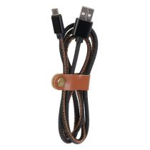"Câble Micro USB Charge Rapide ""Jeans"" 100cm Noir & Marron"