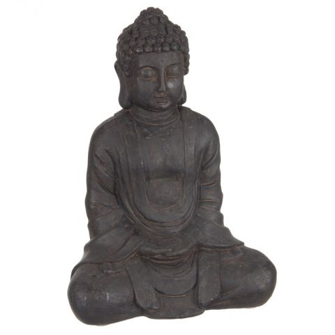 statue bouddha assis 23cm marron. Black Bedroom Furniture Sets. Home Design Ideas
