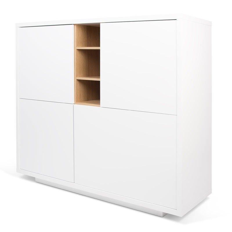 temahome buffet 4 portes niche blanc mat ch ne. Black Bedroom Furniture Sets. Home Design Ideas