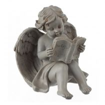 "Statuette Ange Assis ""Lecture"" Gris"