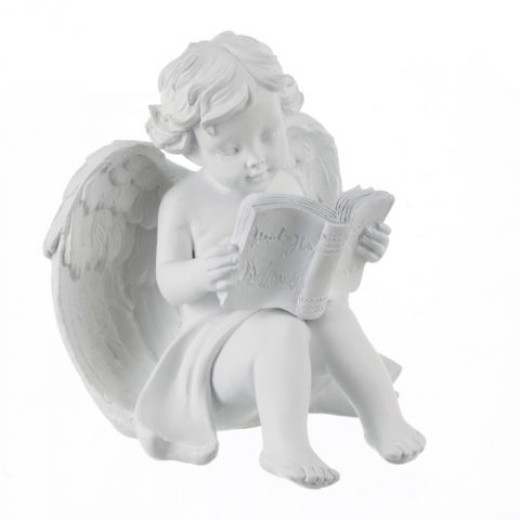 "Statuette Ange Assis ""Lecture"" Blanc"