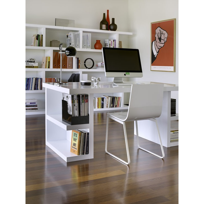 temahome bureau avec rangements multi 160cm blanc mat. Black Bedroom Furniture Sets. Home Design Ideas