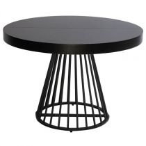 "Table de Repas Ronde ""Virginia"" 110-260cm Noir"