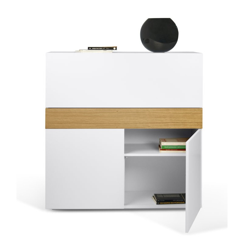 temahome bureau secretaire focus blanc mat ch ne. Black Bedroom Furniture Sets. Home Design Ideas