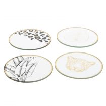 "Lot de 4 Dessous de Verre ""Natural Wild"" 10cm Or"