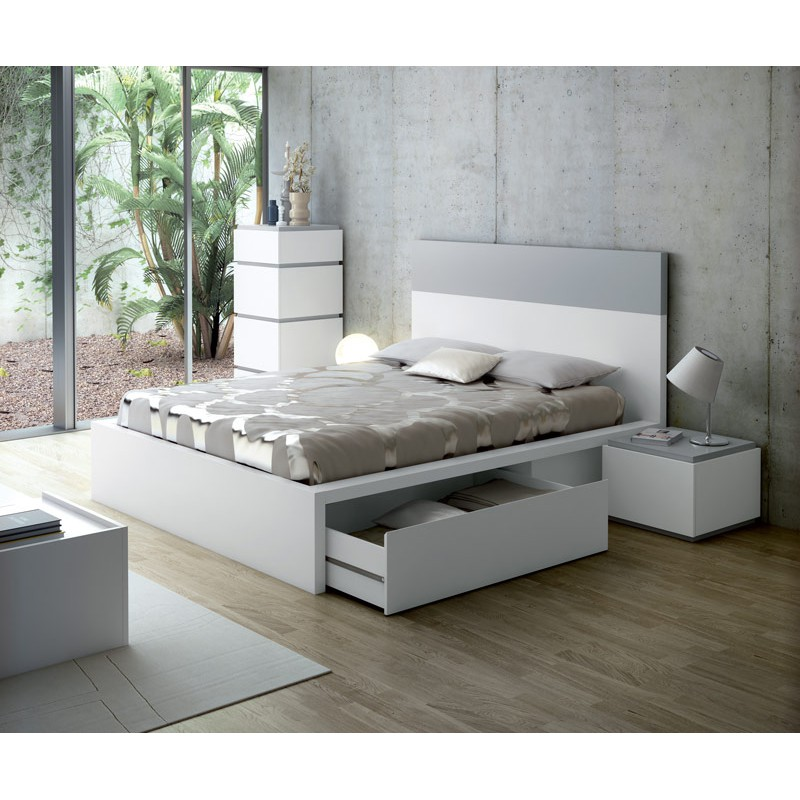temahome lit adulte twist 160x200cm blanc mat gris. Black Bedroom Furniture Sets. Home Design Ideas