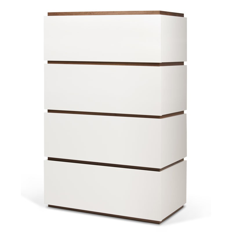 Temahome commode 4 tiroirs 139cm slot blanc mat noyer - Commode 4 tiroirs blanc ...