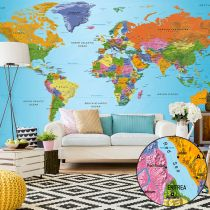 "Papier Peint XXL ""World Map : Colourful Geography II"" 280x500cm"
