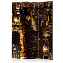 """Paravent 3 Volets """"City By Night Chicago USA"""" 135x172cm"""