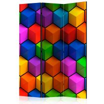 "Paravent 3 Volets ""Colorful Geometric Boxes"" 135x172cm"