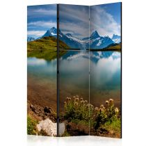 """Paravent 3 Volets """"Lake with Mountain Reflection, Switzerland"""" 135x172cm"""
