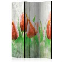"""Paravent 3 Volets """"Red Tulips on Wood"""" 135x172cm"""