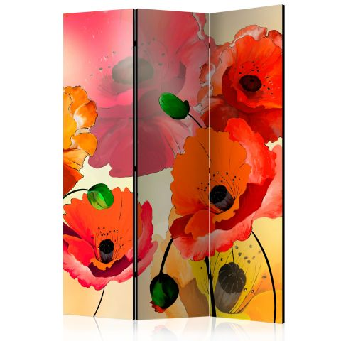 "Paravent 3 Volets ""Velvet Poppies"" 135x172cm"