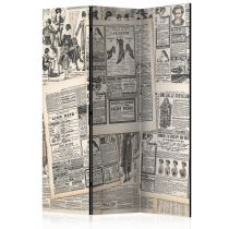 "Paravent 3 Volets ""Vintage Newspapers"" 135x172cm"