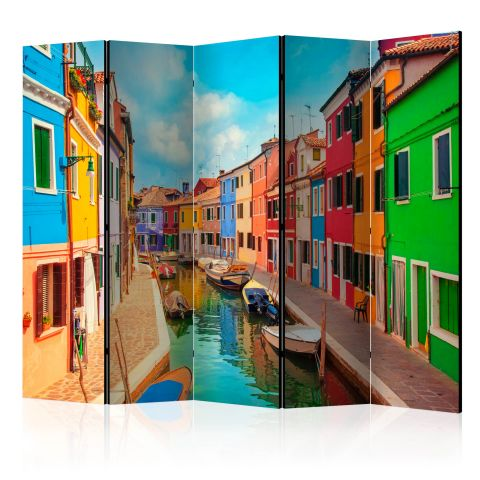 """Paravent 5 Volets """"Colorful Canal in Burano"""" 172x225cm"""