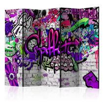 "Paravent 5 Volets ""Purple Graffiti"" 172x225cm"