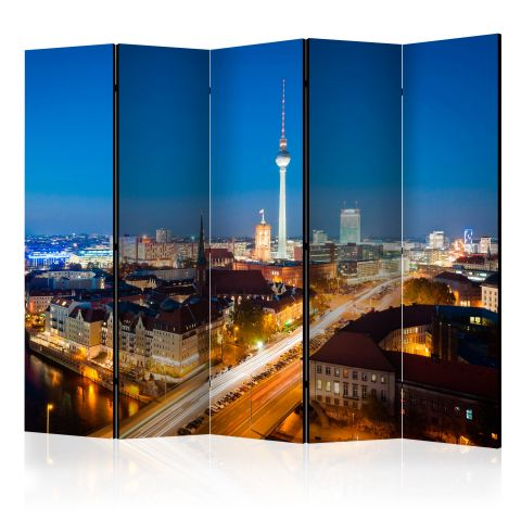 """Paravent 5 Volets """"Berlin By Night"""" 172x225cm"""