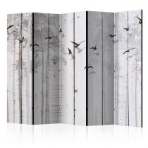 "Paravent 5 Volets ""Birds on Boards"" 172x225cm"