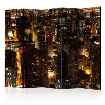 """Paravent 5 Volets """"City By Night Chicago USA"""" 172x225cm"""