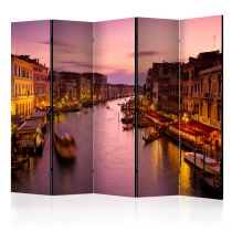 """Paravent 5 Volets """"City of Lovers, Venice By Night"""" 172x225cm"""