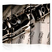 "Paravent 5 Volets ""Clarinet & Music Notes"" 172x225cm"