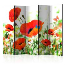 "Paravent 5 Volets ""Country Poppies"" 172x225cm"