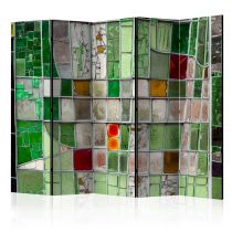 "Paravent 5 Volets ""Emerald Stained Glass"" 172x225cm"