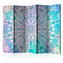 "Paravent 5 Volets ""Girly Mandala Blue"" 172x225cm"