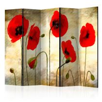 "Paravent 5 Volets ""Golden Field of Poppies"" 172x225cm"