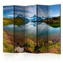 """Paravent 5 Volets """"Lake with Mountain Reflection, Switzerland"""" 172x225cm"""