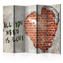 "Paravent 5 Volets ""Love is All You Need"" 172x225cm"