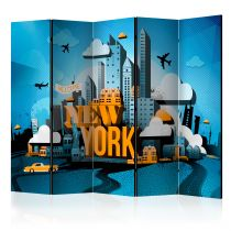 """Paravent 5 Volets """"New York Welcome"""" 172x225cm"""