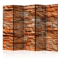 "Paravent 5 Volets ""Orange Stone"" 172x225cm"
