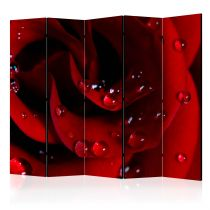"Paravent 5 Volets ""Red Rose with Water Drops"" 172x225cm"