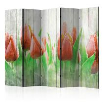 """Paravent 5 Volets """"Red Tulips on Wood"""" 172x225cm"""
