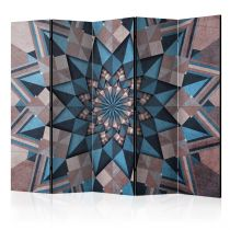 "Paravent 5 Volets ""Star Mandala Brown & Blue"" 172x225cm"