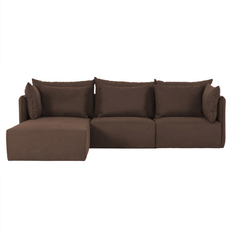 Temahome canap d 39 angle c t gauche dune 3 si ges marron for Canape d angle marron chocolat