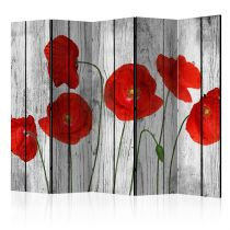 """Paravent 5 Volets """"Tale of Red Poppies"""" 172x225cm"""