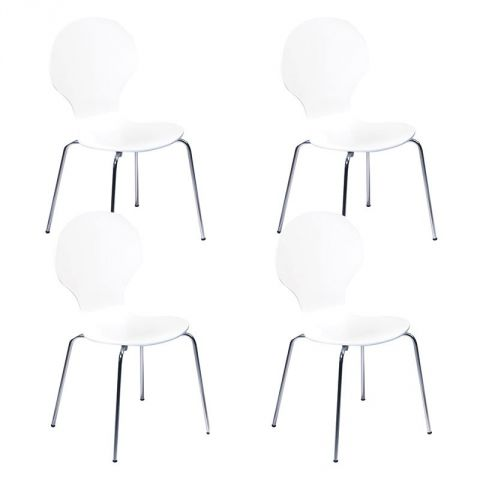 "Lot de 4 Chaises ""Nolan"" Blanc"