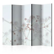 "Paravent 5 Volets ""White Flowers"" 172x225cm"