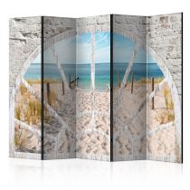"Paravent 5 Volets ""Window View Beach"" 172x225cm"