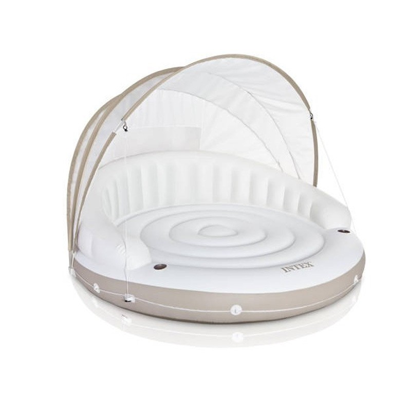 Matelas gonflable rond lounge cara bes blanc - Matelas gonflable rond ...