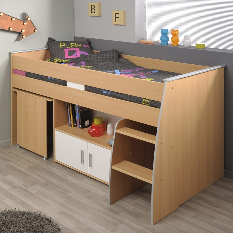 lit combin avec bureau gabriel 90x200cm marron. Black Bedroom Furniture Sets. Home Design Ideas