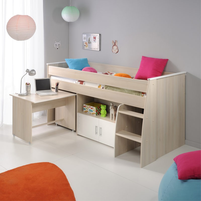 lit 90x200cm combin avec bureau romeo beige. Black Bedroom Furniture Sets. Home Design Ideas