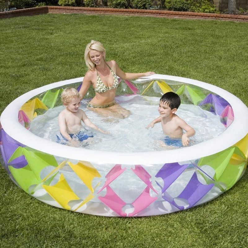 Piscine gonflable ronde croisillons multicolore for Piscine ronde gonflable