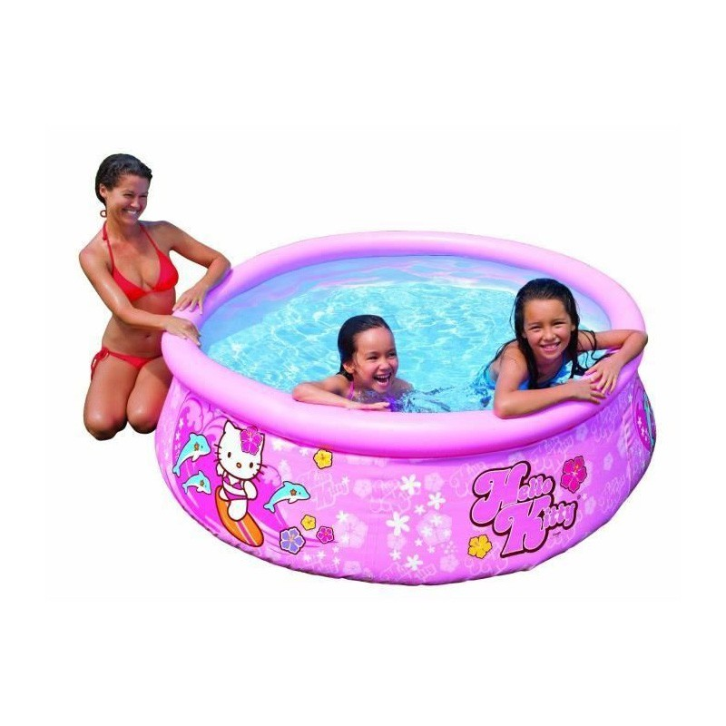 Piscine gonflable ronde hello kitty rose for Piscine gonflable ronde
