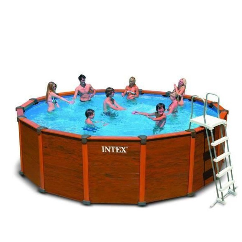 Piscine hors sol tubulaire sequoia marron for Hors sol tubulaire