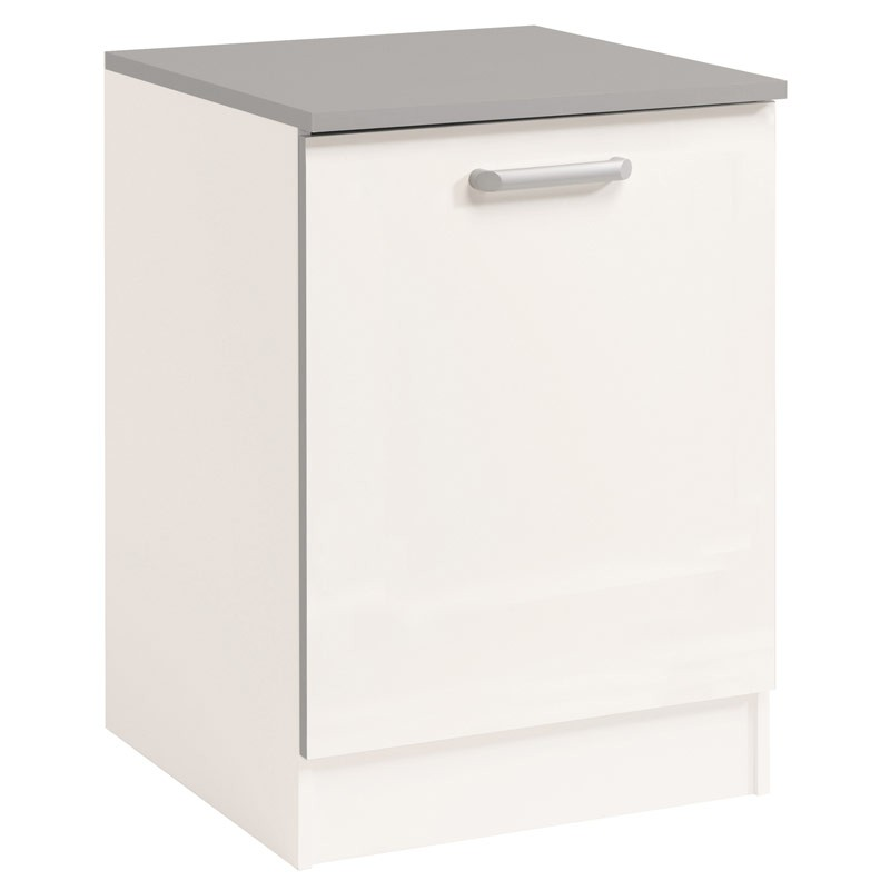 Meuble bas 1 porte 60 cm shiny blanc for Porte 60 cm de large