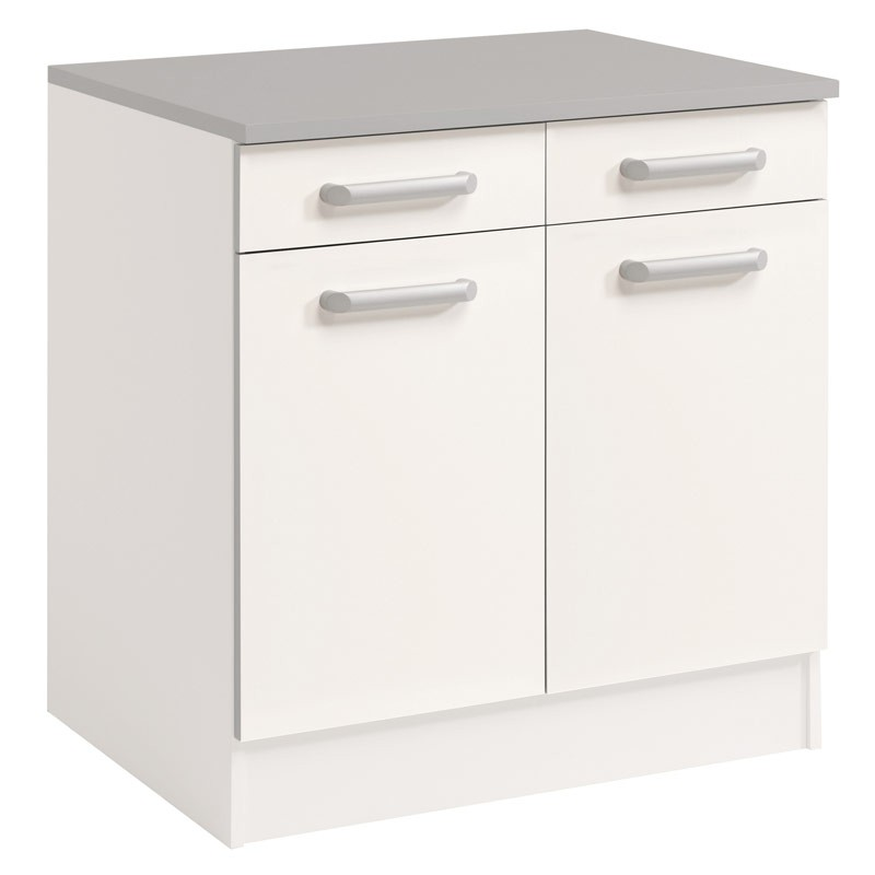Meuble bas 2 tiroirs 2 portes 60 cm shiny blanc for Meuble 2 portes